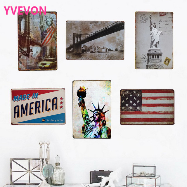 Wall Decor Metal Plaque Vintage Retro Sign USA City Travelling Board  American Sight Seeing Plate For