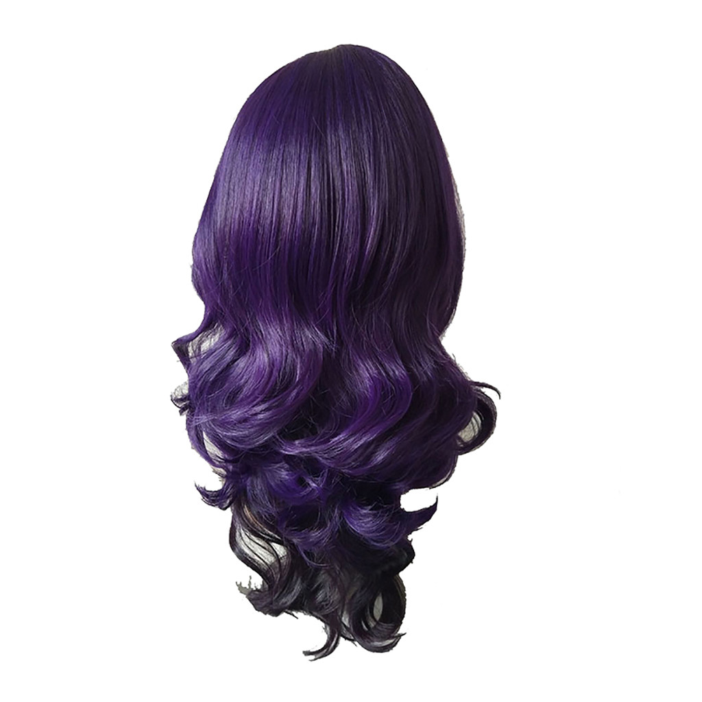 Hair Care Wig Stands High Temperature Fiber Wig Purple Long Curly Gradient Natural Hair Full Wigs Party 70CM Dec26