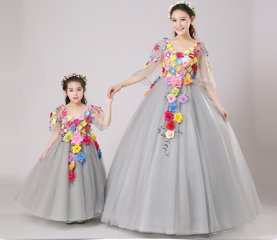 Floral girls princess dress for dancing costume short sleeve V-neck floor length flower girl dresses Family Matching Outfits tassel tie neck trumpet sleeve tiered floral dress