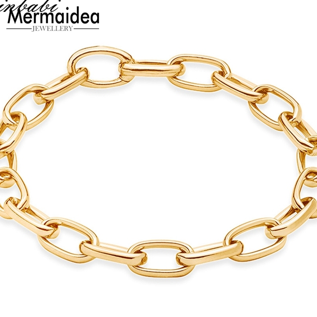 08babaa4ff46 Bracelets Link Chain Pure Gold Color Length 20cm For Women Men Bohemia Gift  Trendy Club Bracelet