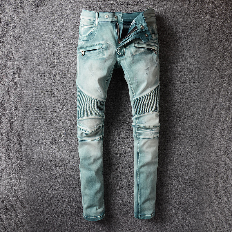 2017 new Men's Classic Jeans Straight Full Length Casual Hip Hop Zip Pocket Biker Jeans Fashion Slim Skinny Jeans Men Big Sizes new fashio hip hop men jeans high street fog fear of god knee hole destroy elastic feet slim jeans gd kanye west skinny trousers