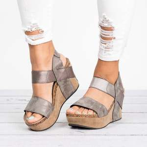 c4db0c77d8a0 LANSHITINA 2018 summer sandals women s wedge platform shoes