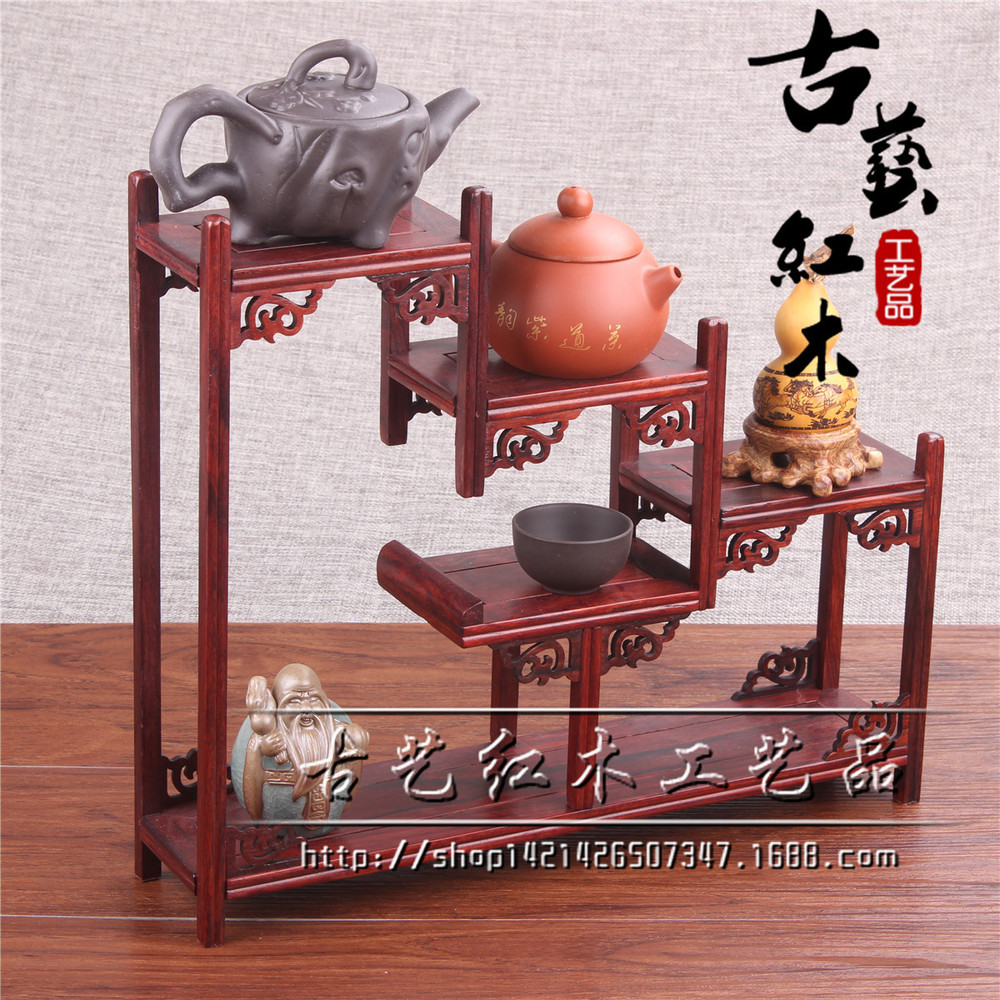Small wooden ornaments - Redwood Crafts Rosewood Shelf Small Wooden Curio Shelf Antique Teapot Ornaments Factory Direct China