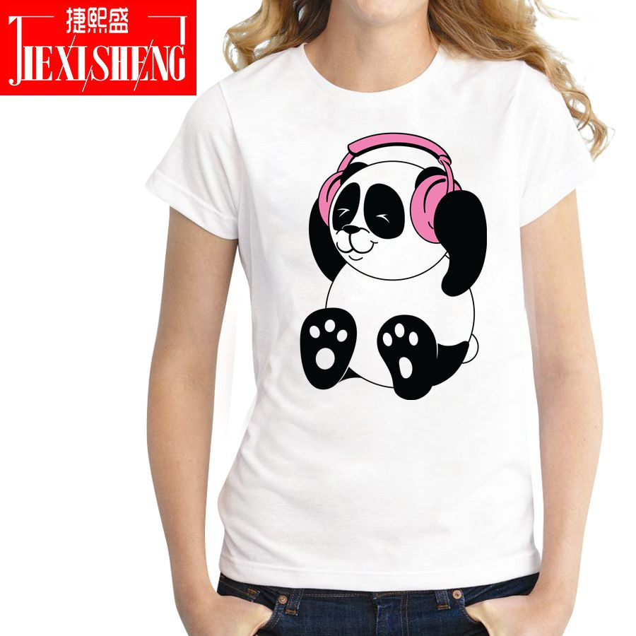 Summer Funny DJ Panda Print Women T Shirt Cool Harajuku T-shirt Casual Short Sleeve Tshirts Plus Size White Tops Tees