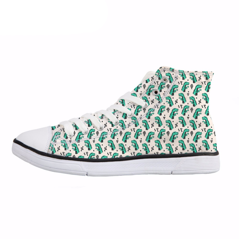 NOISYDESIGNS Fashion Women Vulcanize Shoes Cartoon Dinosaurs Print High Top Canvas Shoes Stylish Deisgn Breathable Sneakers Lady