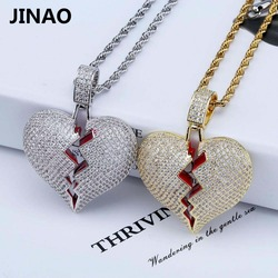 JINAO Fashion Broken Heart Iced Out Chain Pendant Necklace Statement Gold Color Cubic Zircon Necklace Hip Hop Men's Jewelry Gift