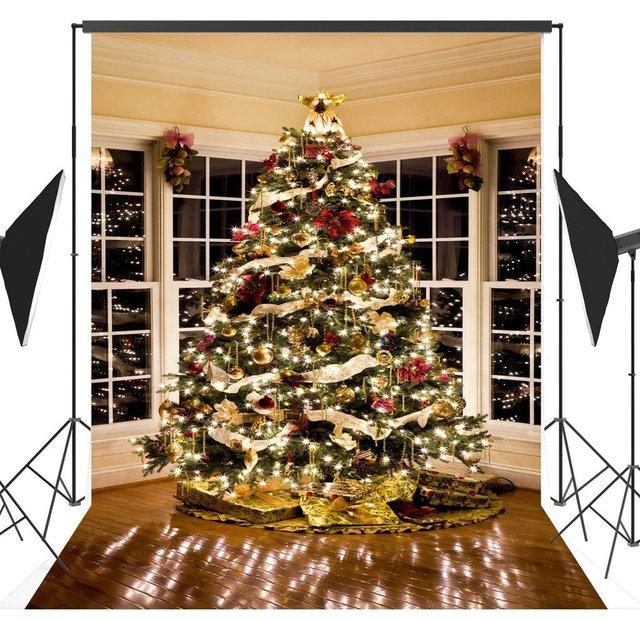 christmas lights tree decorating presents windows room backgrounds vinyl cloth computer print photo backdrop