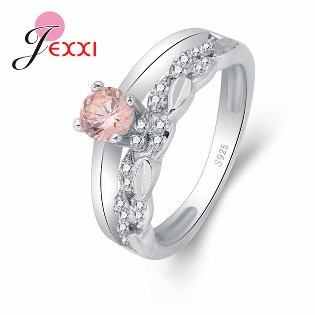Jemmin Sweet Wreath Jewelry With Pink Austrian Crystal 925 Sterling Silver Ring