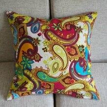 1pc  17 / 43cm Paisley Cushion Cover Colorful Floral Throw Pillow Case Cotton Square Pillowcase Sofa Bedding Home Decor PK101