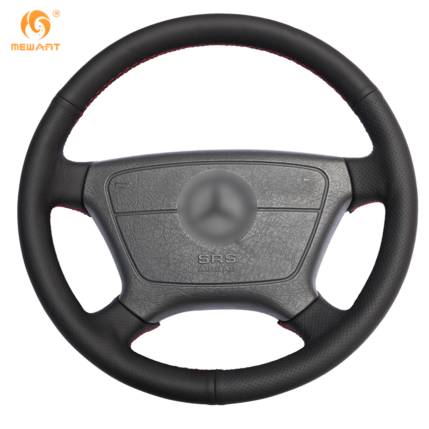 Black artificial leather car steering wheel cover for for Mercedes benz steering wheel cover