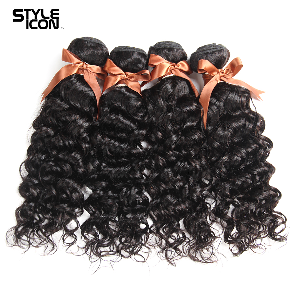 Styleicon Hair 4 Bundles Indian Water Wave Bundles Natural Color Human Hair Weave Non Remy Hair Extensions Free Shipping