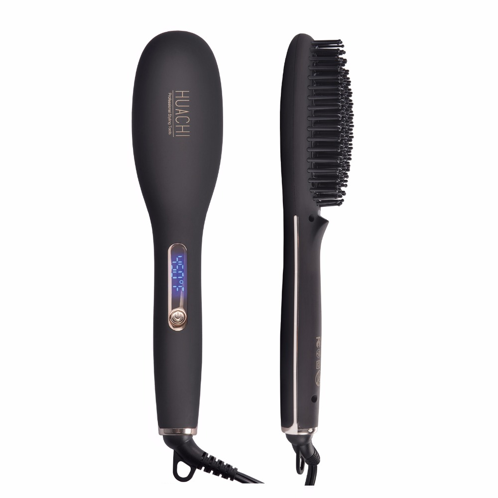 Hair Straightener Brush Professional Ionic Ceramic Hair Straightening Iron Comb Fast Heat LCD Electric Massage Styling Brush Q20