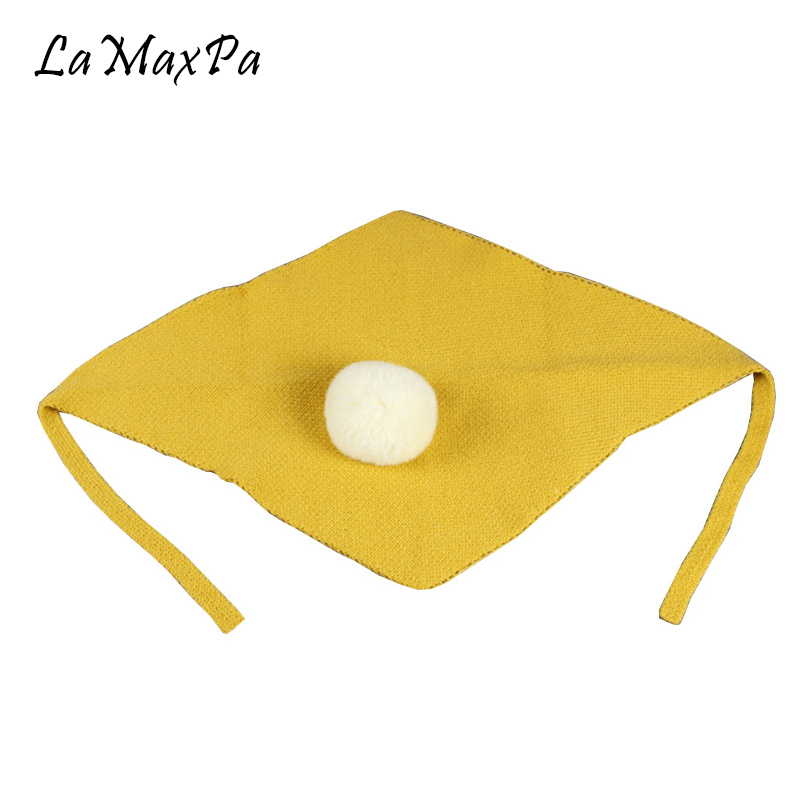 LaMaxPa Fashion Children Cotton Scarf Boys Girls Classic Solid Scarf With Pompom Warm Winter Knitted Scarves For Lovely Child