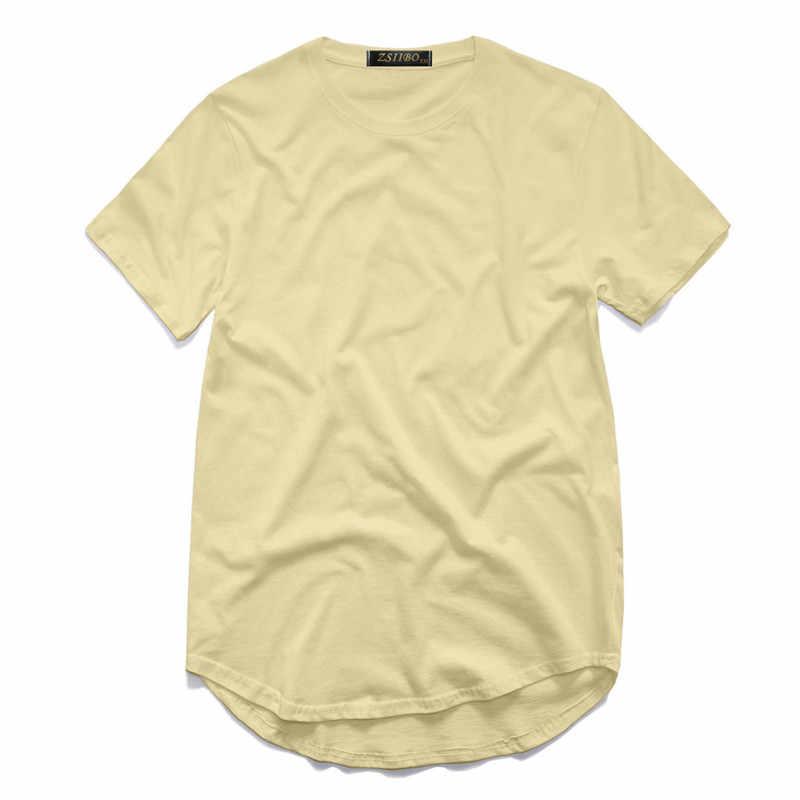 ZSIIBO TX135-C camiseta para hombre Kanye West extendida redondo barrido camiseta curva dobladillo línea larga Hip Hop urbano en blanco de Justin Bieber
