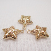 4PCS 15x17MM 24K Gold Color Plated Brass Star Pendants Charms for Jewely Making Findings Accessories