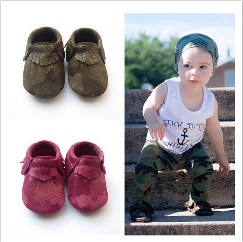 Camuflaje mezclilla infantiles bebé niños zapatos suaves del bebé mocasines de cuero real zapatos de niños 2016 niño antideslizante zapatos recién nacidos