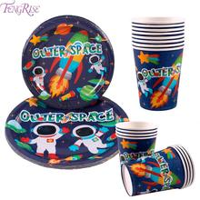 FENGRISE Outer Space Birthday Plate Disposable Party Tableware Spaceship Astronaut Rocket Paper Cup Supplies