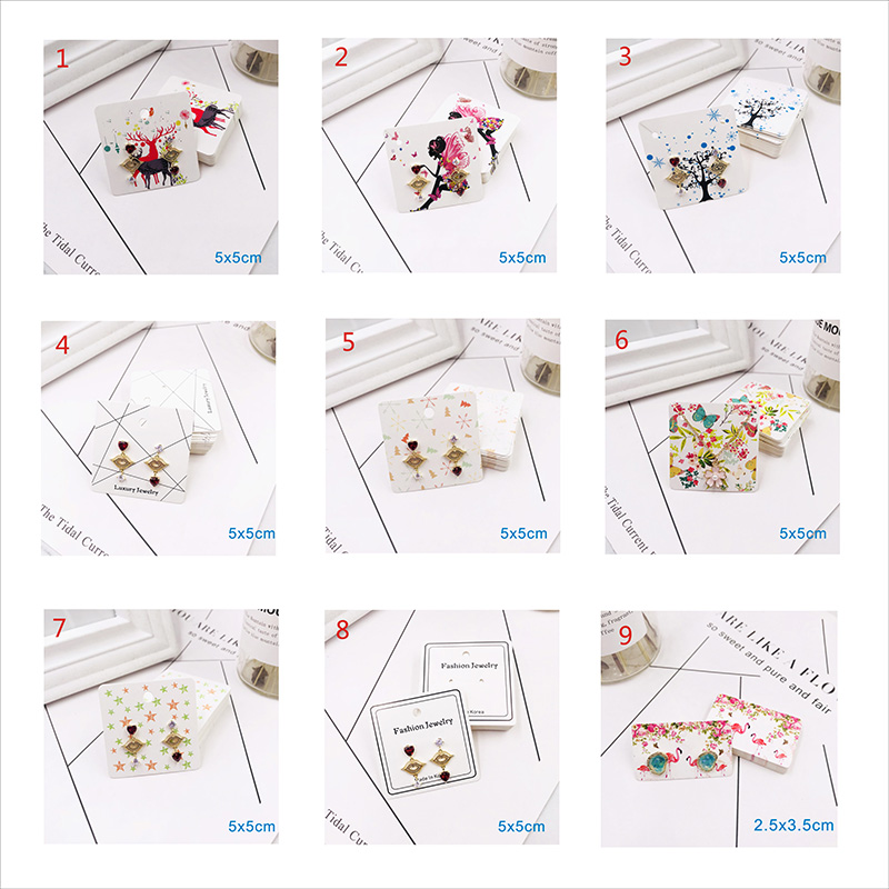 20PCS Earrings Jewelry Kraft White Paper Cards With Printing Necklace Making Diy Accessories Display Cards Sticker Label Tags