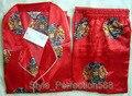 Free shipping ! Red Men's Polyester Satin Robe Pajama Sets Sleepwear Nightwear SIZE S M L XL XXL XXXL ZT-1