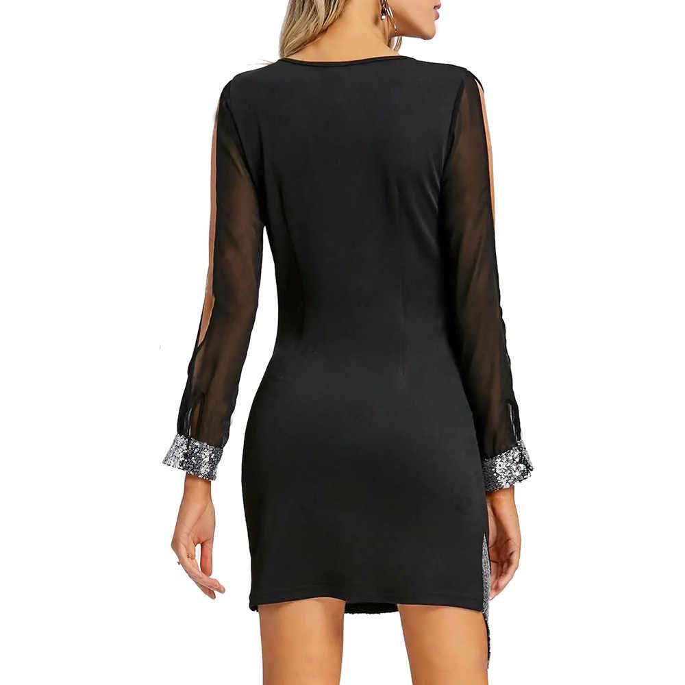 Seksi kadın Mini elbise v yaka ön asimetrik parti elbise gece elbisesi pullu gece elbisesi Mini elbise kadın Vestidos/PT