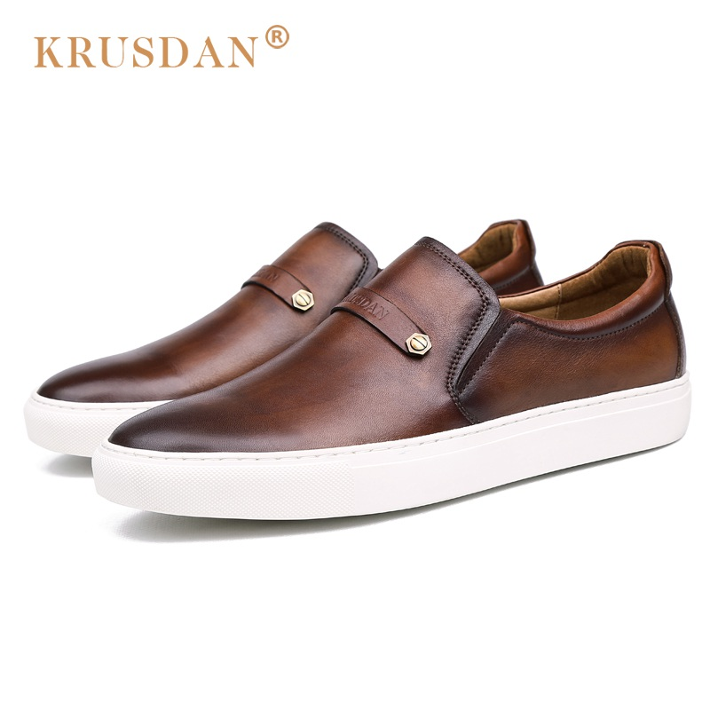 KRUSDAN Vintage Comfortable Platform Man Casual Shoes Genuine Leather Handmade Loafers Round Toe Slip on Men's Basic Flats OQ07