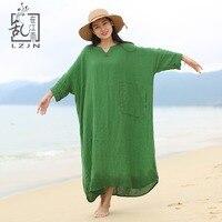 Lzjn mujeres Batwing Vestido de manga mano Bordado 2018 primavera verano traje de lino más tamaño vestido largo verde casual de lino 01265