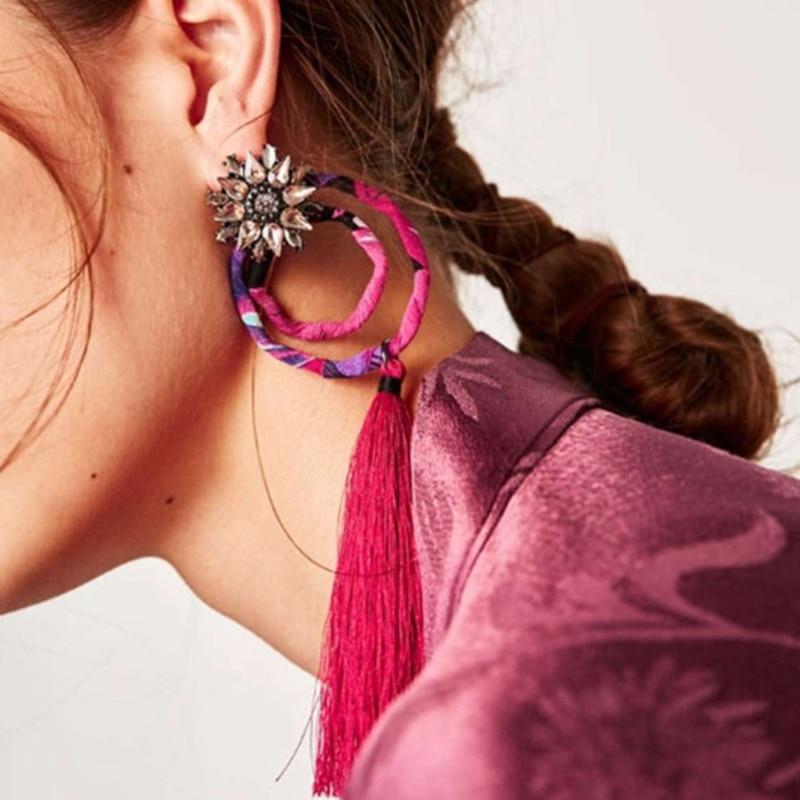 2018 New Bohemian Wedding Jewelry Fashion Women Flower Statement Fringe Earring Colorful Tassels Drop Dangle Earrings