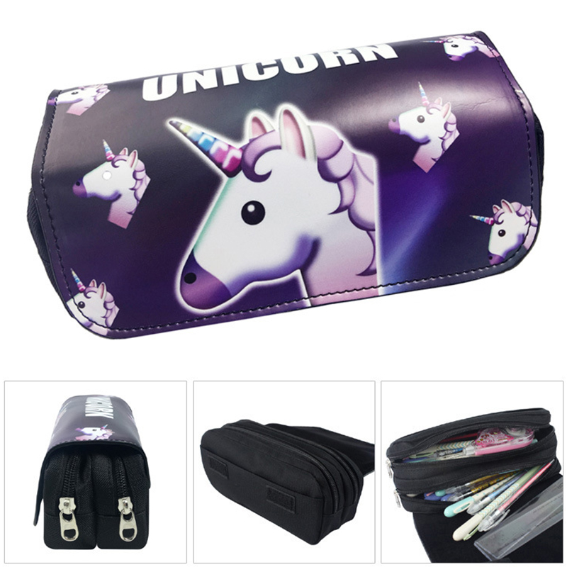 Cartoon Unicorn pencil case Cute PU leather big capacity Stationery pouch gift Double zipper Cosmetic pen bag school supplies big capacity high quality canvas shark double layers pen pencil holder makeup case bag for school student with combination coded lock