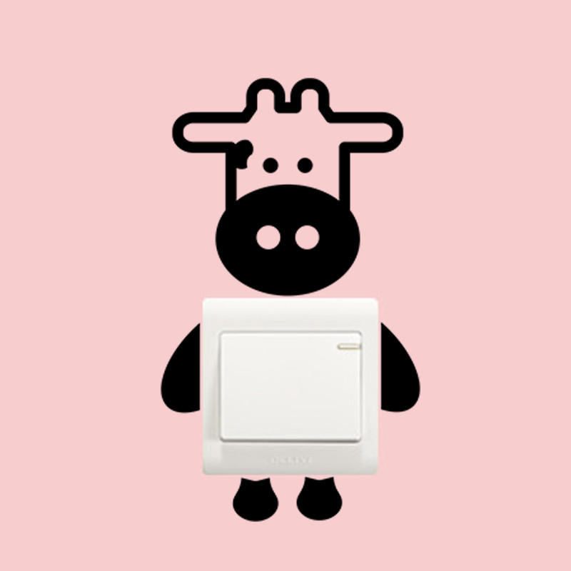 Cute Animal Dairy Cow Milk Cattle Switch Stickers Home Decor Wall Sticker  Kitchen Wall Socket Decal Food Store Decoration In Wall Stickers From Home  ...