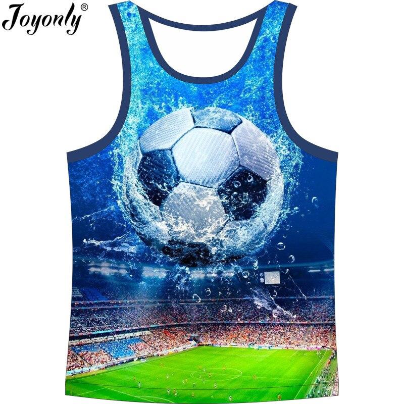 Joyonly 2018 Zomer Kinderen Mode 3d Vest Jongens Meisjes T-shirt Cool Veld Water Voetbal Veld Gedrukt Blauw T-shirt Kids Tops