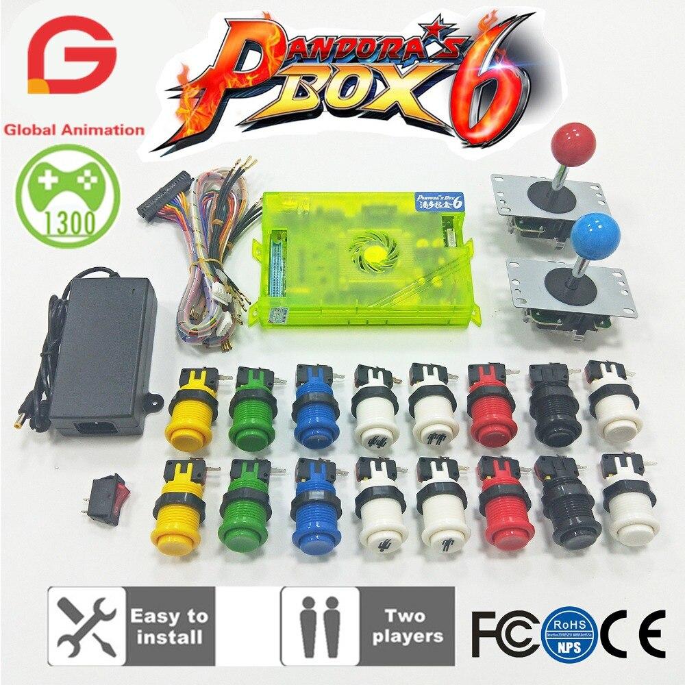 Lettore 2 Arcade FAI DA TE Kit Pandora box 6 1300 in 1 gioco da tavolo e 5Pin joystick Americano Happ Stile pulsante per la Macchina Della Galleria