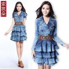 Vintage 2014 Hot Autumn Fashion Cute Short Mini Dress Ladies Ruffles Denim Dress Double-Breasted Lapel Jean Dresses S-Xxl D2074