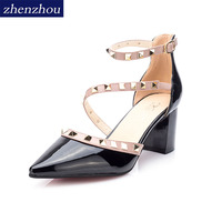 Women S Shoes 2017 Summer New Brand OL Rivet High Heels Pointed Buckle Single Shoes Office