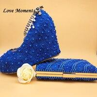 Love Moments Новые королевские синие кружевное платье с цветочным рисунком Женская обувь Свадебная обувь и сумки на высоком каблуке на платформе
