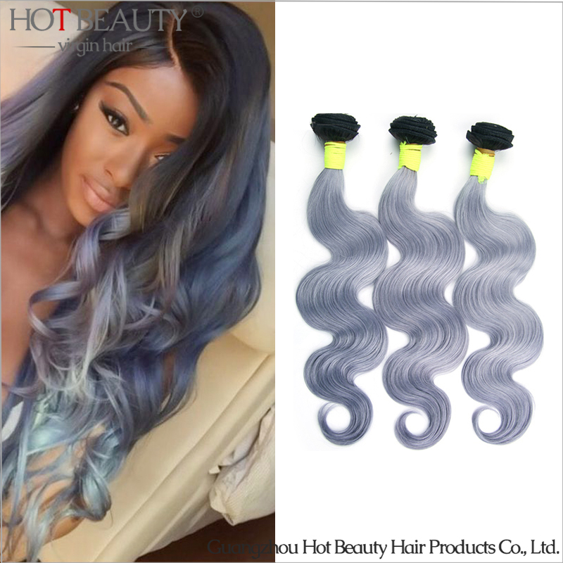 Russian Virgin Grey Purple Hair Weave Body Wave Ombre Hair