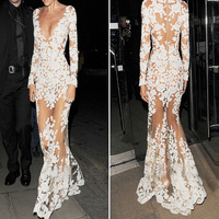 YJSFG HOUSE 2017 Fashion Women Floor Length White Summer Lace Dress Deep V Sexy See Through