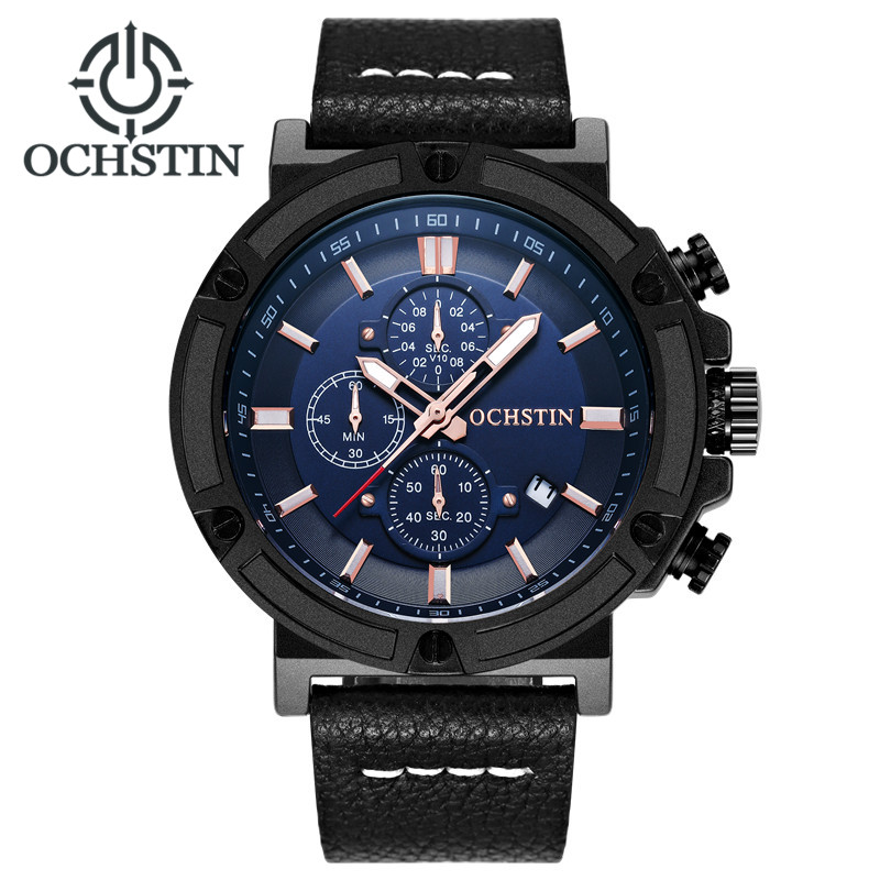 Relogio masculino OCHSTIN Men Military Quartz Watch Chronograph Mens Watches Top Brand Luxury Leather Strap Sports Wristwatch didun watch mens top brand luxury quartz watch men military chronograph sports watch shockproof 30m waterproof wristwatch