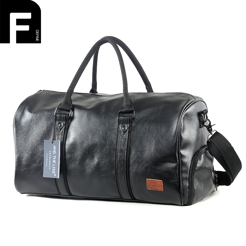 European and American Style Men Travel Duffle Bag PU Leather Men's Travel Bags Black Women Shoulder Handbag Large Luggage Totes