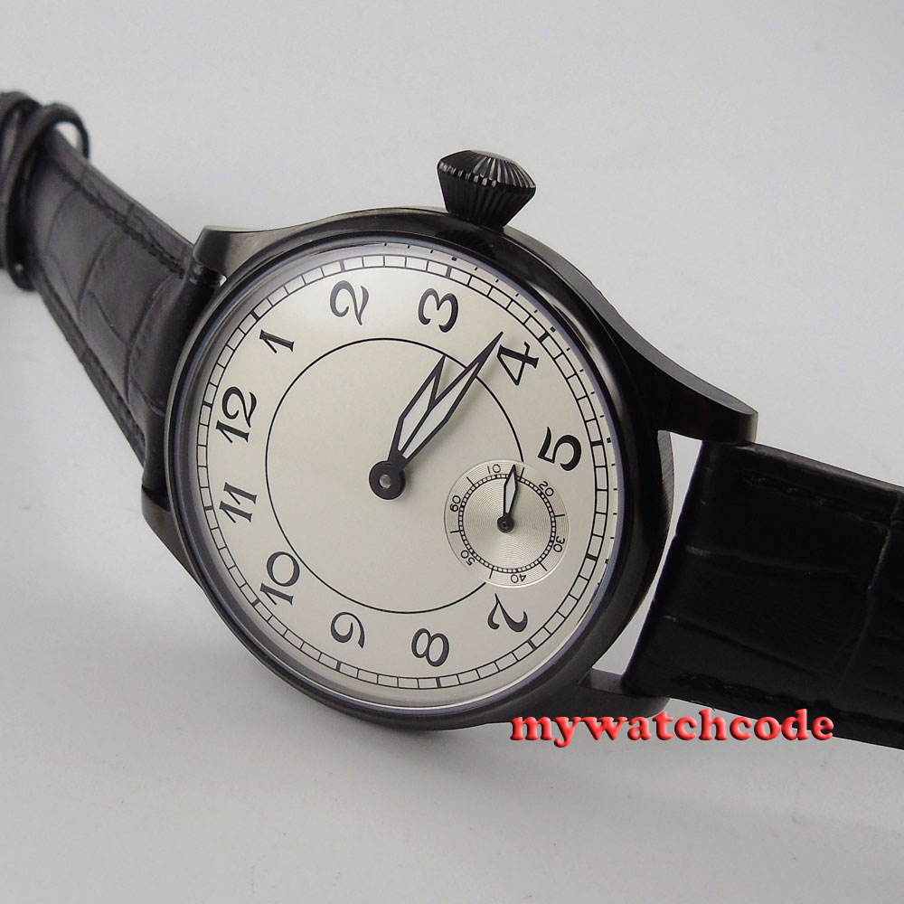 купить 44mm parnis white dial PVD case 6498 movement hand winding mens watch P288B по цене 5684.59 рублей