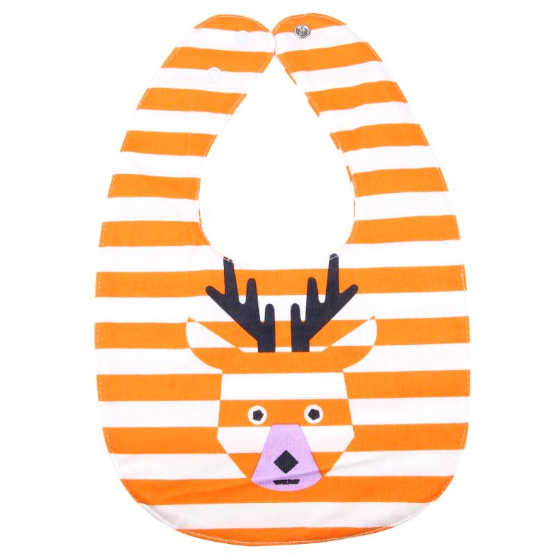 Baby Waterproof Bibs Burp Bandana Unisex Double-sided Cartoon Deer Pattern Saliva Towel Four Layers Newborn Bib Cloths
