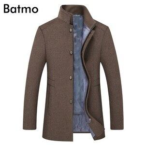 Image 2 - BATMO 2019 yeni varış kış yüksek kaliteli yün kalın trençkot erkekler, erkek gri yün ceketler, artı boyutu M 6XL, 1818