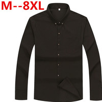 10XL 8XL 6XL 5XL Long Sleeve Shirt Men 2017 Autumn New Fashion Designer Solid Shirt Non
