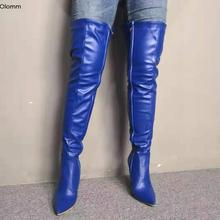Boots-Point-Toe Stiletto Shoes Women High-Boots Blue New-Fashion Olomm Winter Night-Club