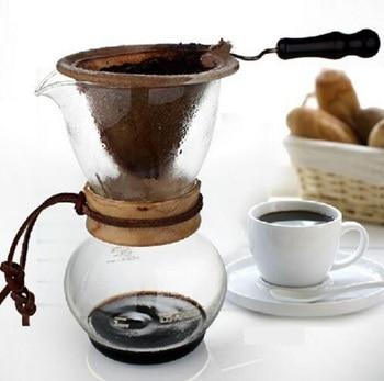 Бесплатная доставка Кофе driper Кофе падение горшок Деревянный/металл