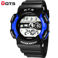 O T S Military Luminous Large Dial Sports Wristwatches Horloges Mannen Mans Digital Watches Multifunction Waterproof