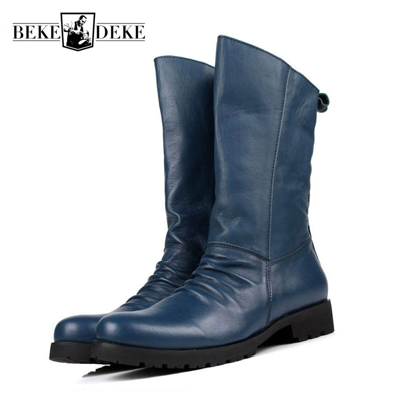 2018 Winter Men Riding Boots Mid-Calf Military Botas Blue Black Genuine Leather Knight Martin Shoes Male Fashion Safety Footwear aputure ls mini 20 3 light kit two mini 20d and one mini 20c led fresnel light tlci cri 96 40000lux 0 5m with battery and case