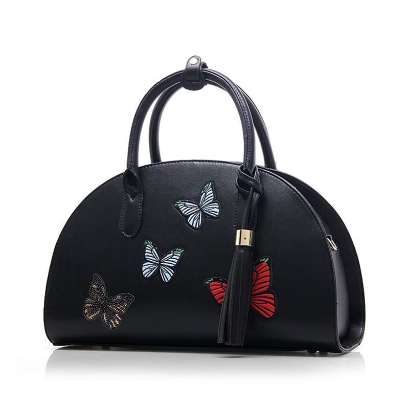 New Vintage Women Shoulder Bag PU Leather Fashion Shell Butterfly Messenger Bag Womens Tote Crossbody Bag High Qulilty Handbag