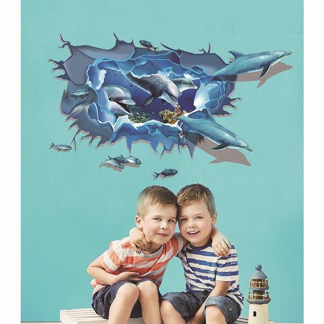 3D DIY Tier Dolphins Vinyl Wandaufkleber Für Kinderzimmer Badezimmer Poster  Wohnkultur Wasserdicht De Pared Tapete LT