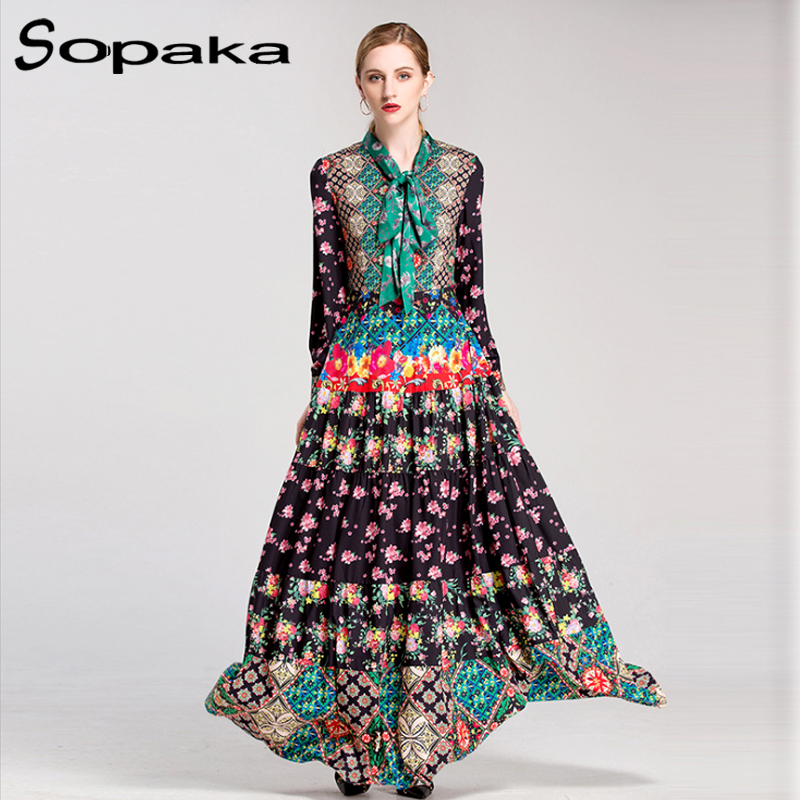 High Quality 2018 Spring Bow Neck Full Sleeve Colorful Floral Print Vintage Party Long Dress Runway Designer Maxi Women Dresses 2018 spring autumn black long dresses full sleeve empire floral print patchwork vintage designer maxi women dress clothing xxl