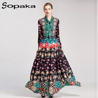High Quality 2018 Spring Bow Neck Full Sleeve Colorful Floral Print Vintage Party Long Dress Runway Designer Maxi Women Dresses
